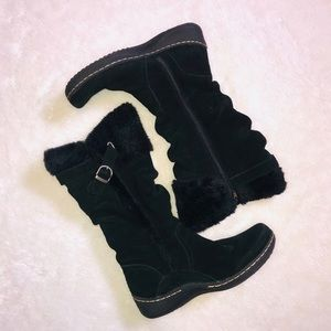 Bare Traps Emilse Suede Fur Lined Tall Boots